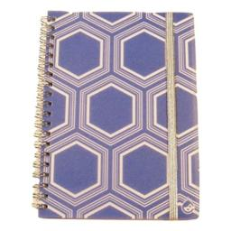 Carolina Pad Studio C College Ruled Poly Cover Spiral Notebook with Elastic Closure, Pattern Play (Blue with White Hexagon, 5 Inches x 7 Inches, 80 Sheets, 160 Pages)