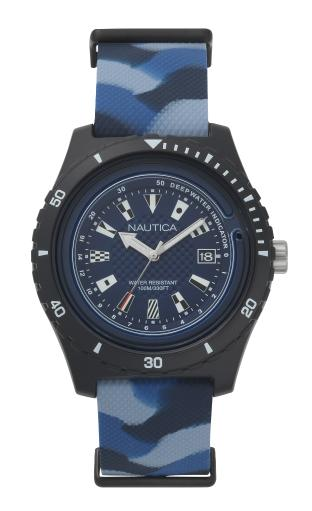 Nautica Watch NAPSRF004 Surfside, Analog, Water Resistant, Deep Water Indicator, Calendar, Signal Flag Indexes, Camo Silicone Strap, Blue