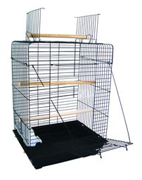 """YML 1924 3/4"""" Bar Spacing Open Play Top Small Parrot Bird Cage - 20""""x16"""" In Black"""