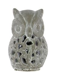 Urban Trends  Cement Owl Figurine with Cutout Design Large Washed Concrete Finish Gray
