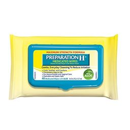 Preparation H (48 Count) Flushable Medicated Hemorrhoid Wipes, Maximum Strength Relief with Witch Hazel and Aloe, Pouch