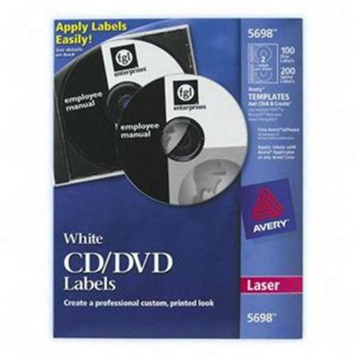 Avery Dennison CD-DVD and Jewel Case Spine Laser Labels Matte 100 Label 200 Spine Labels CD-DVD Label CD-DVD Label 5698