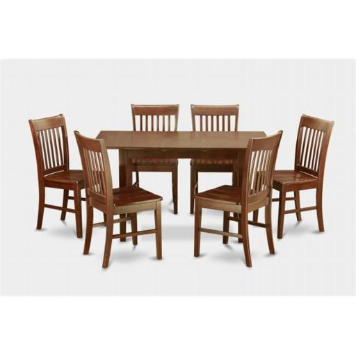 East West Furniture NOFK7-MAH-W 7 Piece Small Kitchen Table Set- Table With Leaf and 6 Dining Room Chairs