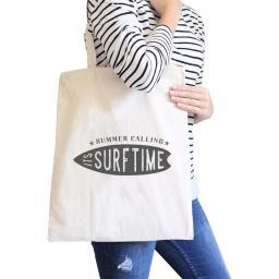 Summer Its Surf Time Natural Canvas Beach Shoulder Bag Summer Gifts