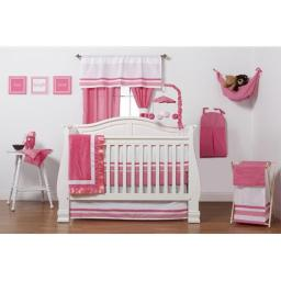 One Grace Place 10-18hp118 Simplicity Hot Pink Infant 3 Piece Crib Bedding Set
