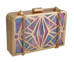 Glittering Metallic Rainbow Stained Glass Look Clutch Purse