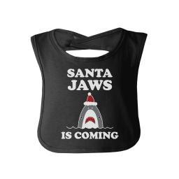 Santa Jaws Is Coming Funny Graphic Baby Bib Christmas In July Gifts