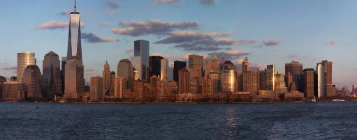 Panoramic view of New York City Skyline on water featuring One World Trade Center, Freedom Tower, New York City, New York, USA City, New York, USA.