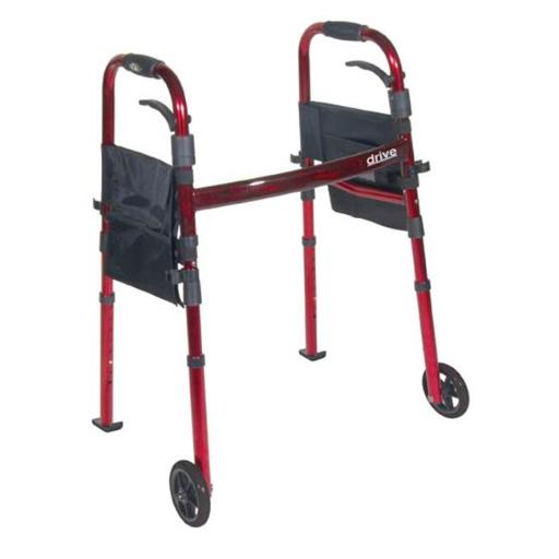 Drive Medical 10263KDR Deluxe Portable Folding Travel Walker with 5 inch Wheels and Fold up Legs- Red
