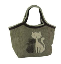 Fuzzy Cuddling Cats Tri-Tone Canvas Handbag