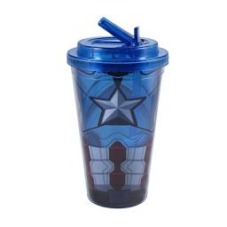 Captain America Star Chest 16 oz Plastic Flip Straw Cold Cup Chris Evans