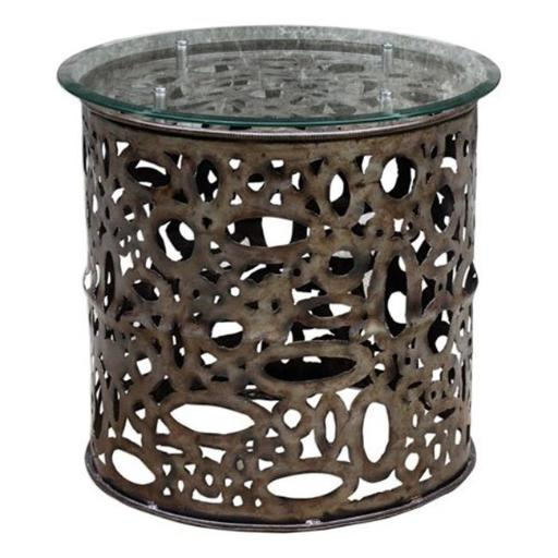 Uttermost 25770 24 x 25 x 25 in. Zama Industrial Accent Table - Iron Metal & Glass