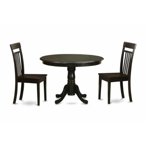 East West Furniture HLCA3-CAP-W 3 Piece Kitchen Table Set-Small Table and 2 Kitchen Chairs