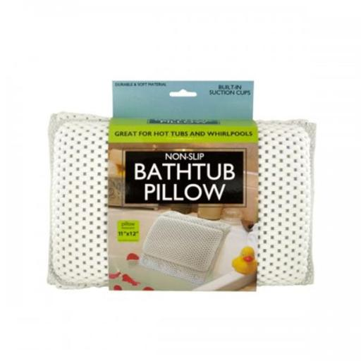 Bulk Buys OF441 Non-Slip Bathtub Pillow with Suction Cups, White