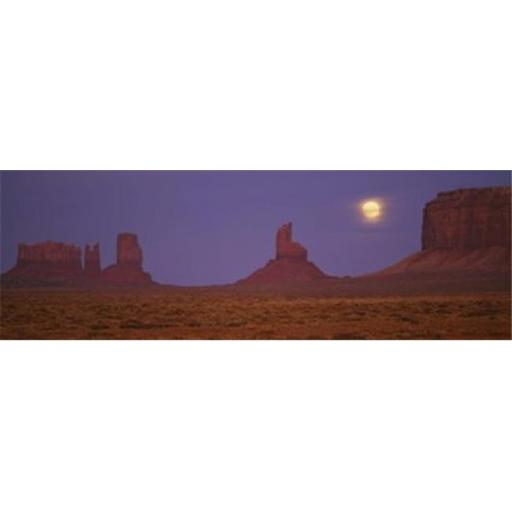 Panoramic Images PPI34604L Moon shining over rock formations Monument Valley Tribal Park Arizona USA Poster Print by Panoramic Images - 36 x 12