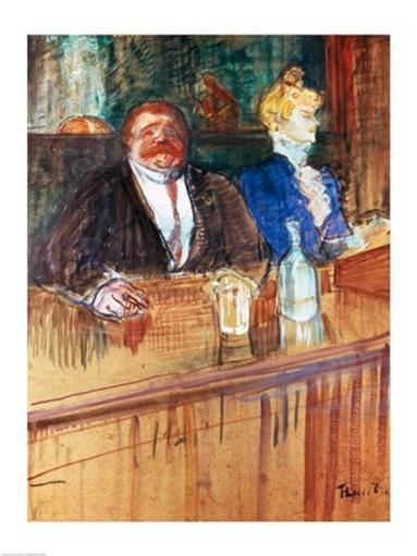 In the Bar The Fat Proprietor and the Anaemic Cashier, 1898 Poster Print by Henri de Toulouse-Lautrec