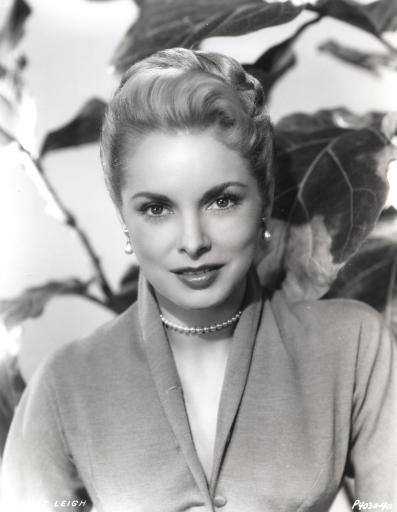 Janet Leigh Posed in Grey V-Neck Long Sleeve Silk Dress and Pearl Earring with Pearl Necklace Photo Print