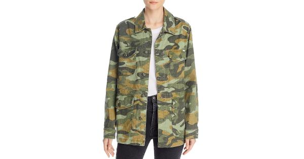 Mother Womens Loose Veteran Camouflage Linen Blend Field Coat