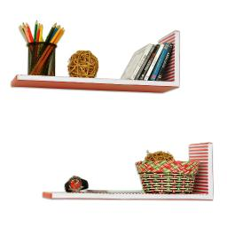 Beauty AbbyabbieL-Shaped Leather Shelf / Bookshelf / Floating Shelf (Set of 2)