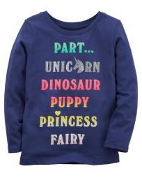 Carter's Baby Girls' Part Unicorn Jersey Tee, Navy Blue, 9 Months