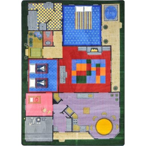 Joy Carpets 1453B Kid Essentials Creative Play House Active Play & Juvenile Rectangle Rugs, Multi Color - 3 ft. 10 in. x 5 ft. 4 in.