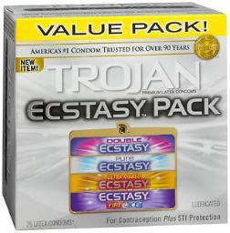 Trojan Ecstasy Pack Lubricated Premium Latex Condoms - 26 ct CH22890