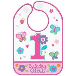 Amscan 430161 1st Birthday Sweet Girl Plastic Bib - Pack of 12