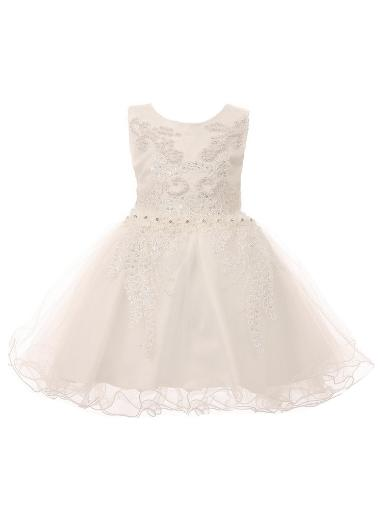 f097729f942e Cinderella Couture Baby Girls White Satin Tulle Pearls 3D Lace ...