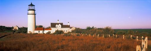 Lighthouse in the field, Highland Light, Cape Cod National Seashore, North Truro, Cape Cod, Barnstable County, Massachusetts, USA Poster Print