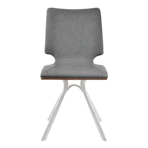 Armen Living LCMLSIVGBSWA 39 x 17 x 18 in. Marley Contemporary Dining Chair, Brushed Stainless Steel with Vintage Grey Faux Leather & Walnut Wood Back