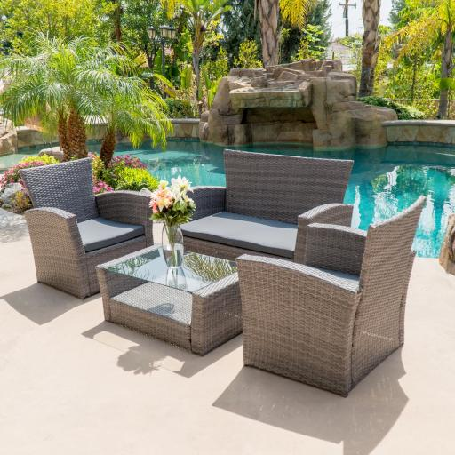 BELLEZE 4pc PE Rattan Wicker Sofa Set Cushion Sectional Yard Outdoor Patio Sofa Chair Couch Furniture High Backrest, Gra