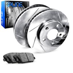 Rear eLine Diamond Slotted Brake Rotors & Ceramic Brake Pads RES.75010.02