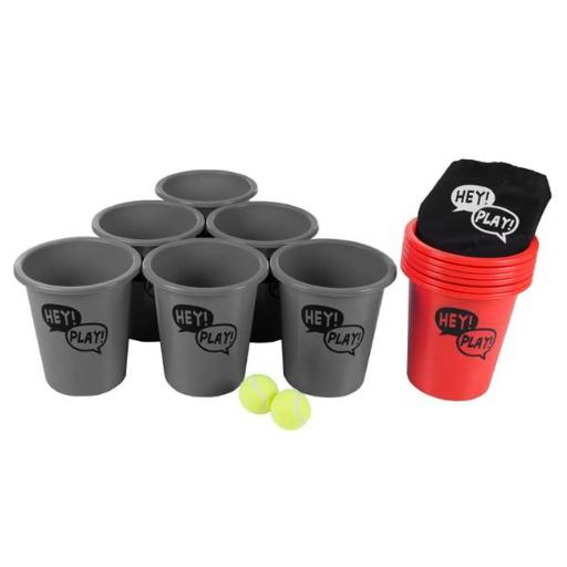 Hey Play M350084 5.2 lbs Large Beer Pong Outdoor Game Set, Red & Gray