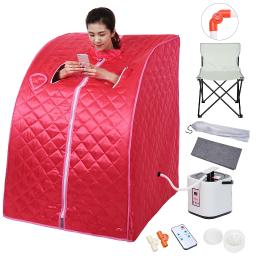 Portable Home Steam Sauna SPA With Large Chair Detox Weight Loss Slimming Bath Indoor Red Personal Therapeutic