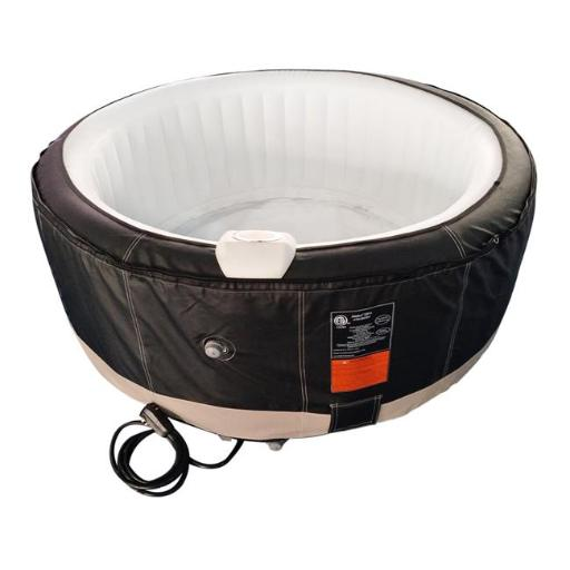 Aleko HTIR6BKWH-UNB 265 gal Round Inflatable Hot Tub Spa with Cover, Black & White - 6 Person
