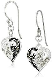 Sterling Silver Marcasite and Crystal Heart Wire Drop Earrings