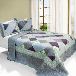 Purple Memory Cotton 3PC Vermicelli-Quilted Printed Quilt Set (Full/Queen)