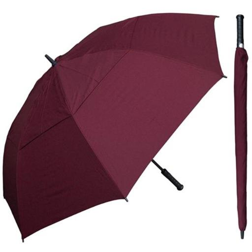 RainStoppers W030BG 60 in. Auto Open Burgundy Wind Buster Golf Umbrella with Golf Grip Handle, 6 Piece