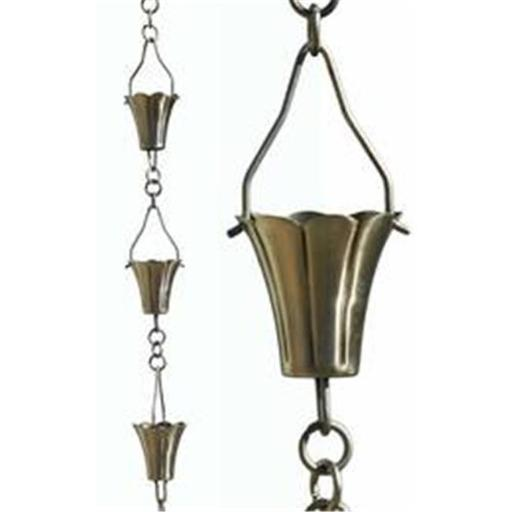 Patina Products R266H Brushed Stainless Fluted Cup Rain Chain - Half Length