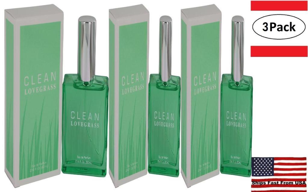 3 Pack Clean Lovegrass by Clean Eau De Parfum Spray 2.14 oz for Women