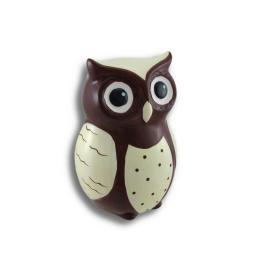 Ceramic Wide-Eyed Brown and White Owl Coin Bank