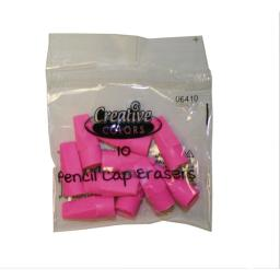 Creative Colors Pink Eraser Caps - 10Ct