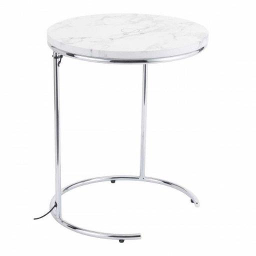 Zuo Modern 101038 Kensington Wireless Charging Side Table, White & Chrome