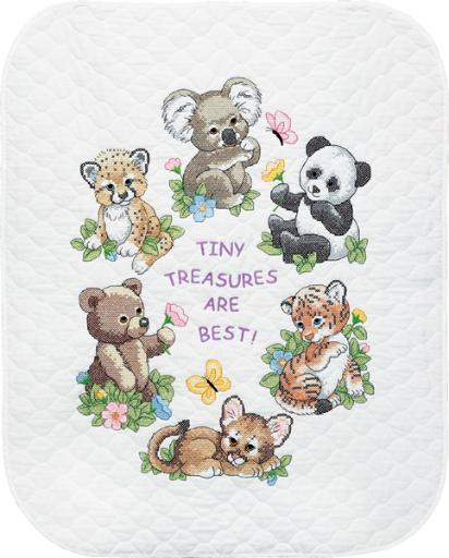 "Baby Hugs Baby Animals Quilt Stamped Cross Stitch Kit-34""X43"" LILNVUJUNESVEBY9"