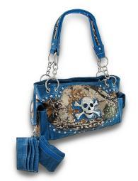 Studded Rhinestone Skull Forest Camo Concealed Carry Purse