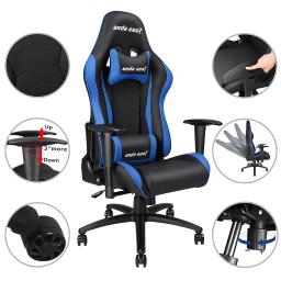Anda Seat Racing Chair Gaming PVC Leather Recliner Adjustable Swivel Rocker High-back w/ Headrest & Lumbar Cushion