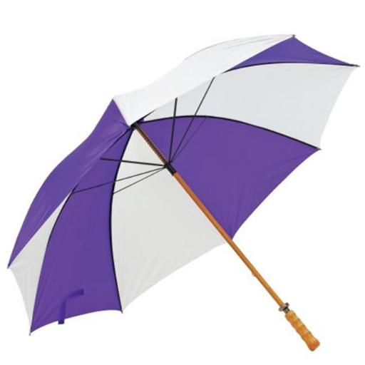 Premium Wood Shaft Golf Umbrella - Purple and White