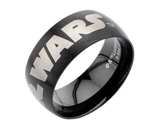 Star Wars Logo IP Black Stainless Steel Ring