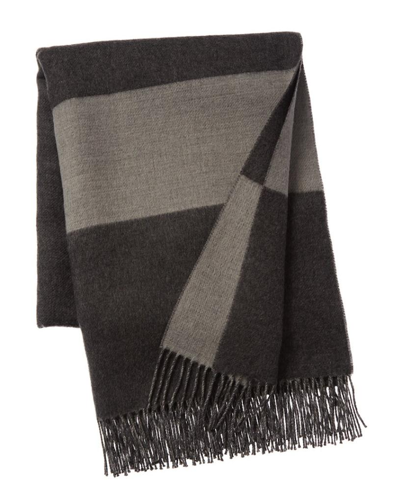 Amicale Cashmere Camel Silk Blend Border Stripe Throw