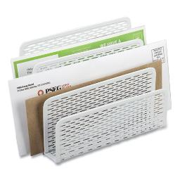 """Urban Collection Punched Metal Letter Sorter 3 Sections Dl To A6 Size Files 6.5"""" X 3.25"""" X 5.5"""" White   Total Quantity: 1"""